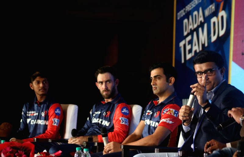Cricket Association of Bengal (CAB) President Sourav Ganguly with Delhi Daredevils' Gautam Gambhir, Sandeep Lamichhane and Glenn Maxwell during a programme in New Delhi on May 16, 2018. - Sourav Ganguly