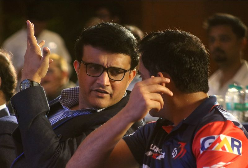 Cricket Association of Bengal (CAB) President Sourav Ganguly with Delhi Daredevils' Gautam Gambhir during a programme in New Delhi on May 16, 2018. - Sourav Ganguly