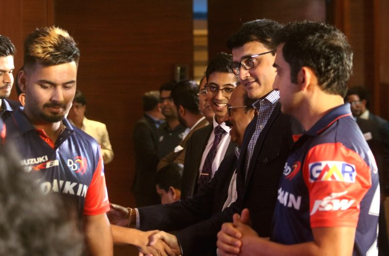 Cricket Association of Bengal (CAB) President Sourav Ganguly with Delhi Daredevils' Gautam Gambhir and Rishabh Pant during a programme in New Delhi on May 16, 2018. - Sourav Ganguly