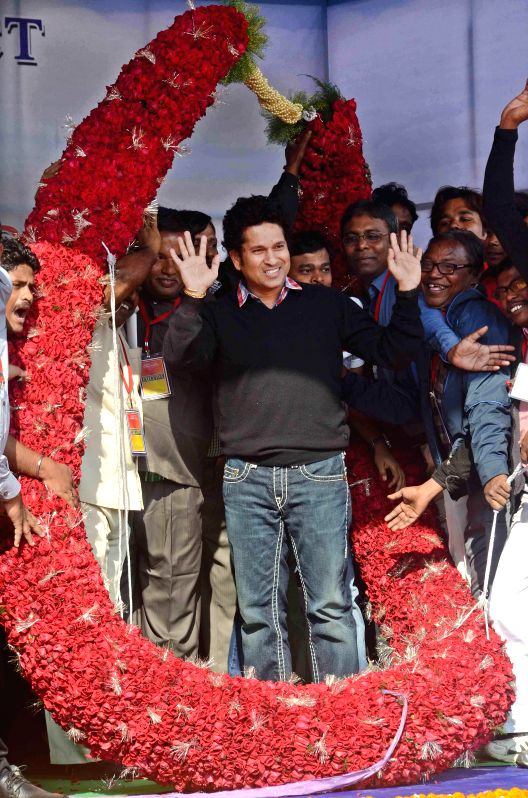 Cricket legend Sachin Tendulkar at the inauguration of a swimming training institute at Rajarhat, in Kolkata, on Dec 18, 2014.