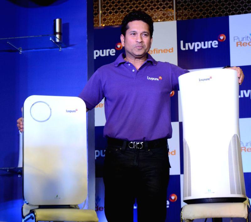 Cricket legend Sachin Tendulkar at the launch of a water and air purifier in Mumbai, on Dec 4, 2015.