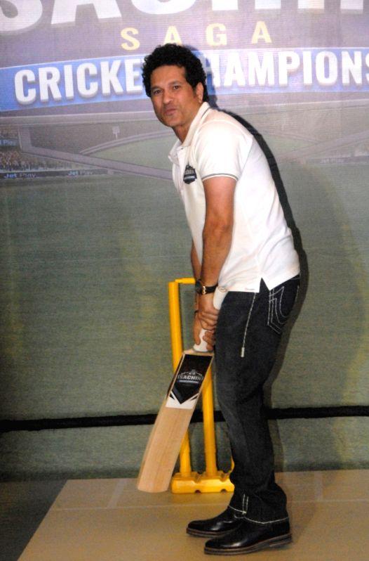 "Cricket legend Sachin Tendulkar at the launch of ""Sachin Saga Cricket Champions"" - a game,  in Bengaluru, on Dec 7, 2017. - Sachin Tendulkar"