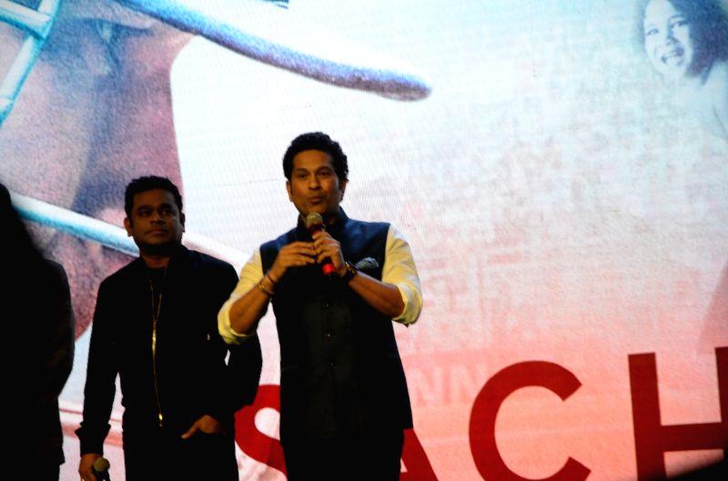 "Cricket legend Sachin Tendulkar at the music launch of the film ""Sachin: A Billion Dreams"" in Mumbai, on May 8, 2017. - Sachin Tendulkar"