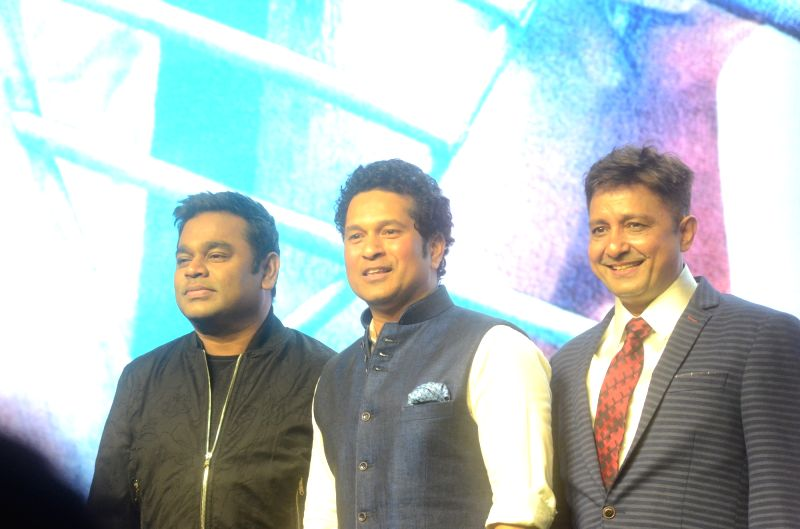 "Cricket legend Sachin Tendulkar with A. R. Rahman at the music launch of the film ""Sachin: A Billion Dreams"" in Mumbai, on May 8, 2017. - Sachin Tendulkar"