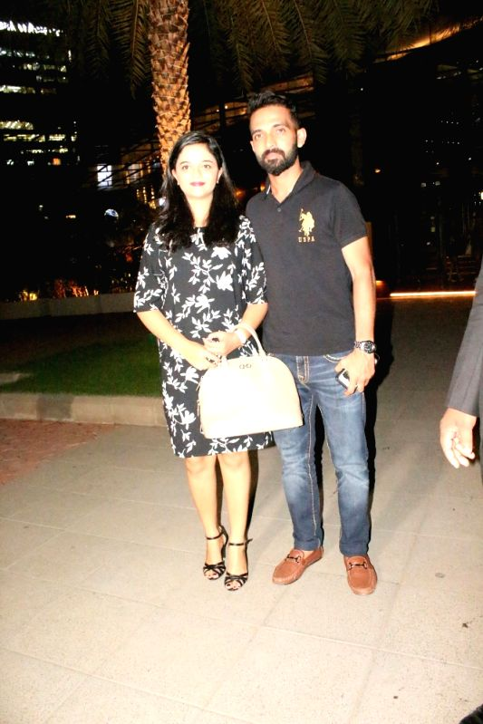 Cricketer Ajinkya Rahane along with his wife Radhika Dhopavkar seen at a restaurant in Mumbai on June 6, 2018.