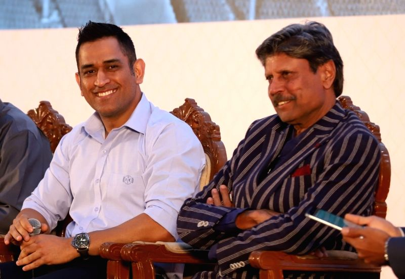 Cricketer MS Dhoni with Kapil Dev at the launch of a book on Tamil Nadu Cricket Association in Chennai (File Photo)
