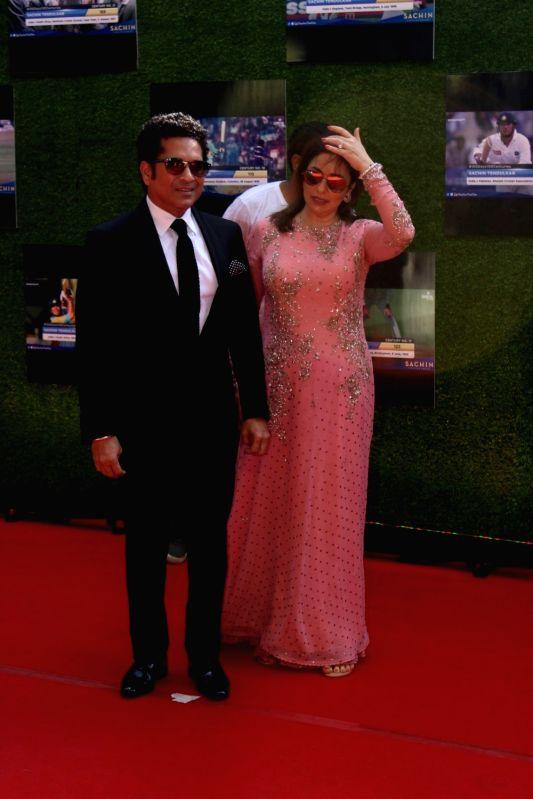 Cricketer Sachin Tendulkar wife Anjali Tendulkar during the special screening of film A Billion Dreams in Mumbai, on May 23, 2017. - Sachin Tendulkar