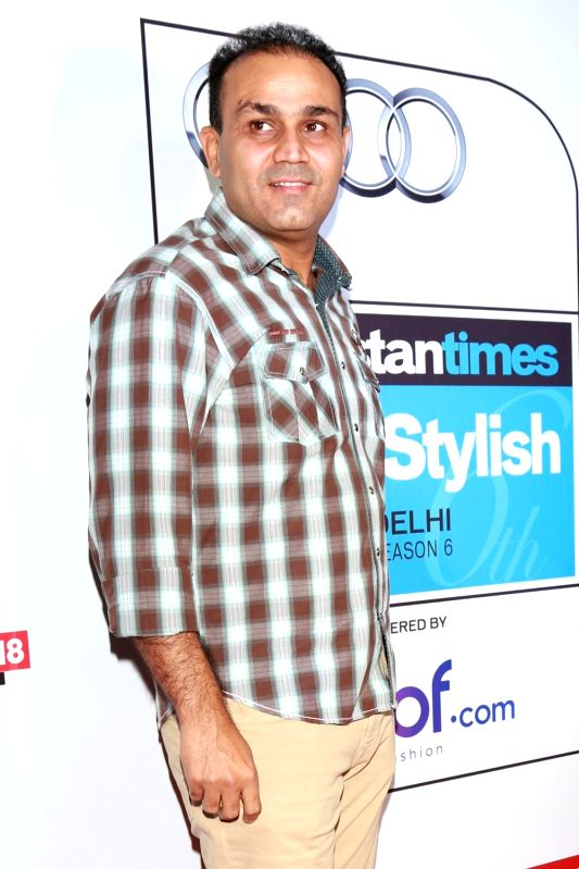 Cricketer Virender Sehwag during red carpet of Hindustan Times Most Stylish 2016, in New Delhi on May 24, 2016.