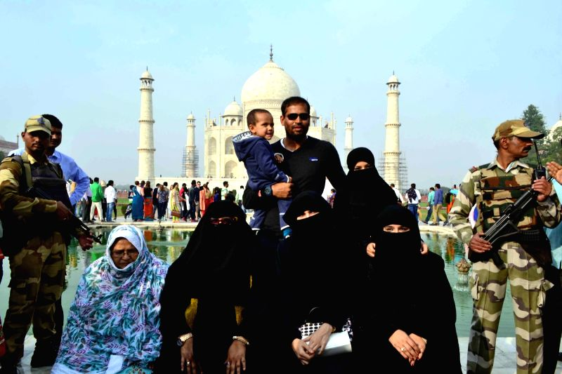 Cricketer Yusuf Pathan visits the Taj Mahal in Agra, on Dec 7, 2015.