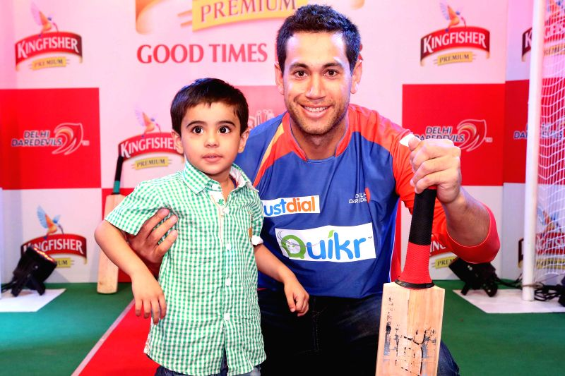 Cricketers Ross Taylor, Wayne Parnell, Siddhart Kaul and Mayank Agarwal during Kingfisher Bowl Out held at a shopping mall in Gurgaon on May 5, 2014.
