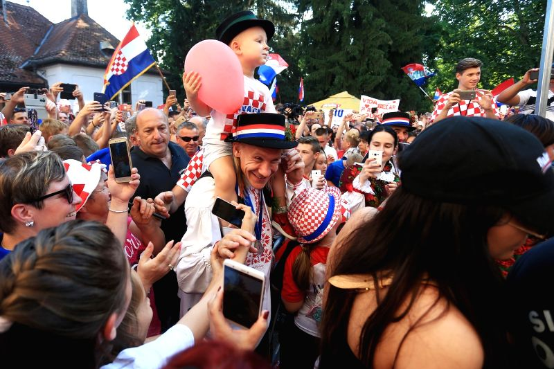Croatian football player Domagoj Vida (C) takes part in celebration in Donji Miholjac, Croatia, on July 17, 2018. Croatia won the second place at the 2018 FIFA World Cup in Russia.