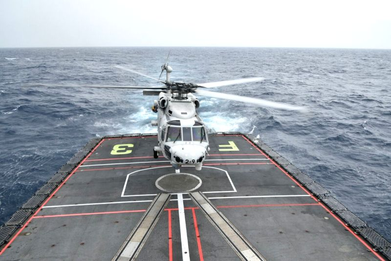 Ships of India, US, Japan manoeuvre in rough sea for Malabar