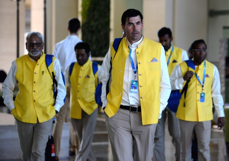 CSK Head Coach Stephen Fleming arrives to attend Indian Premier League (IPL) Players' Auction in Bengaluru on Jan 28, 2018.