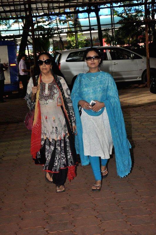 ctor Sharbani Mukherjee and singer Ila Arun during the condolence meet of filmmaker Dharmesh Tiwari in Mumbai, on August 9, 2014. - Sharbani Mukherjee