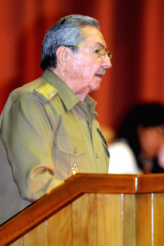 Cuban President Raul Castro gives a closing address at the plenary session of the Fifth Ordinary Session of the Eighth Legislature of the Cuban Parliament, at ...