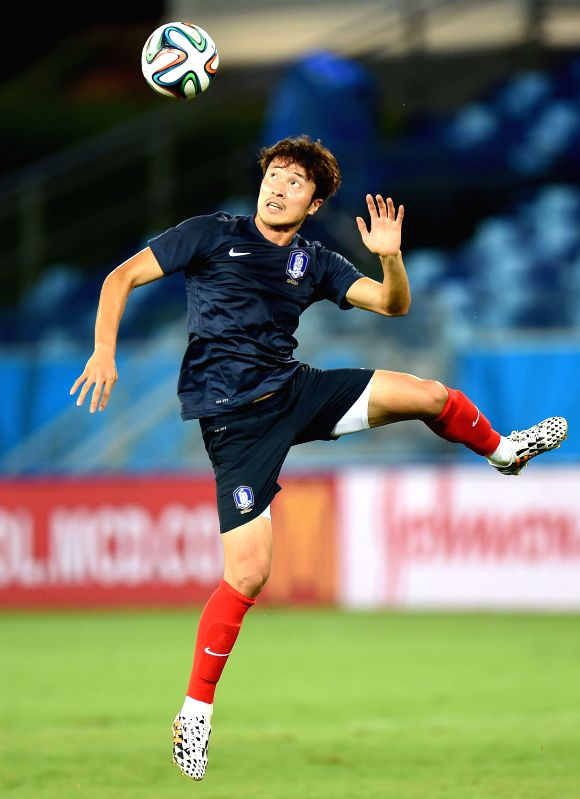 Korea Republic's Park Jung-Woo attends a training session of 2014 FIFA World Cup at the Arena Pantanal Stadium in Cuiaba, Brazil, June 16, 2014.