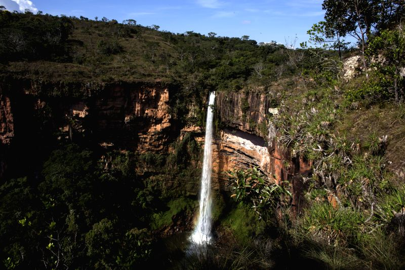 View of the waterfall Veu de Noiva in the Chapada dos Guimaraes National Park, about 60 kilometers from Cuiaba, capital of the State of Mato Grosso, Brazil, on June .