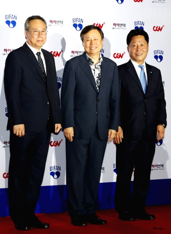 Culture Minister Do Jong-hwan (C) attends the opening ceremony of the Bucheon International Fantastic Film Festival (BIFAN) at Bucheon City Hall in Bucheon, Gyeonggi Province, on July 12, ... - D