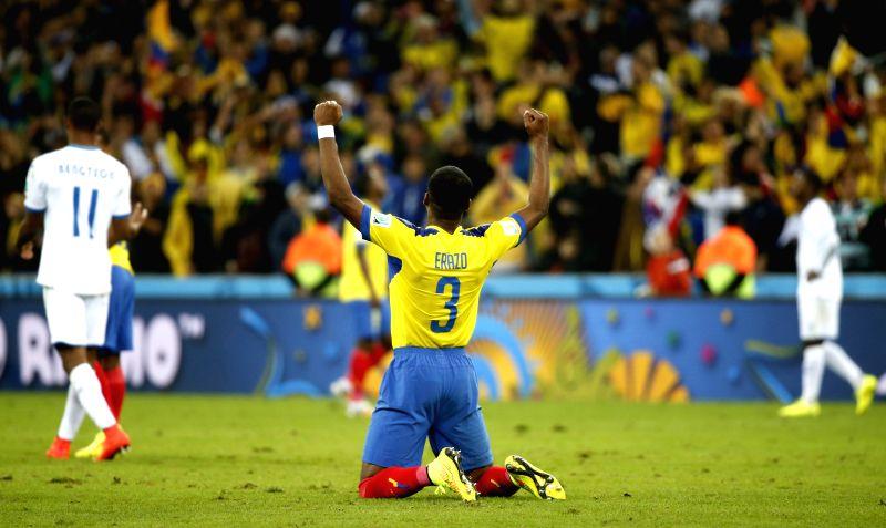 Frickson Erazo of Ecuador celebraes the victory after a Group E match between Honduras and Ecuador of 2014 FIFA World Cup at the Arena da Baixada Stadium in ...
