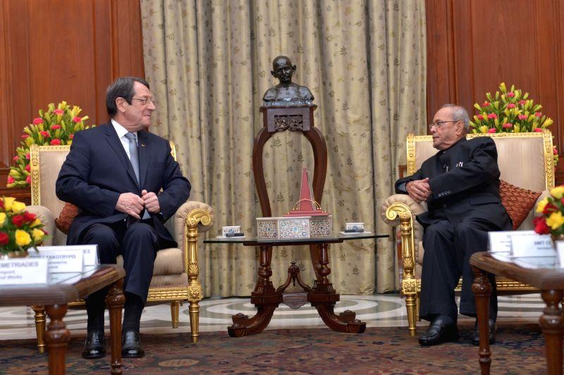 Cyprus President Nicos Anastasiades calls on President Pranab Mukherjee at Rashtrapati Bhavan in New Delhi on April 28, 2017. - Pranab Mukherjee