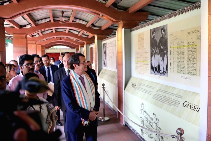 Cyprus President Nicos Anastasiades pays tribute at Gandhi Smriti in New Delhi on April 27, 2017.