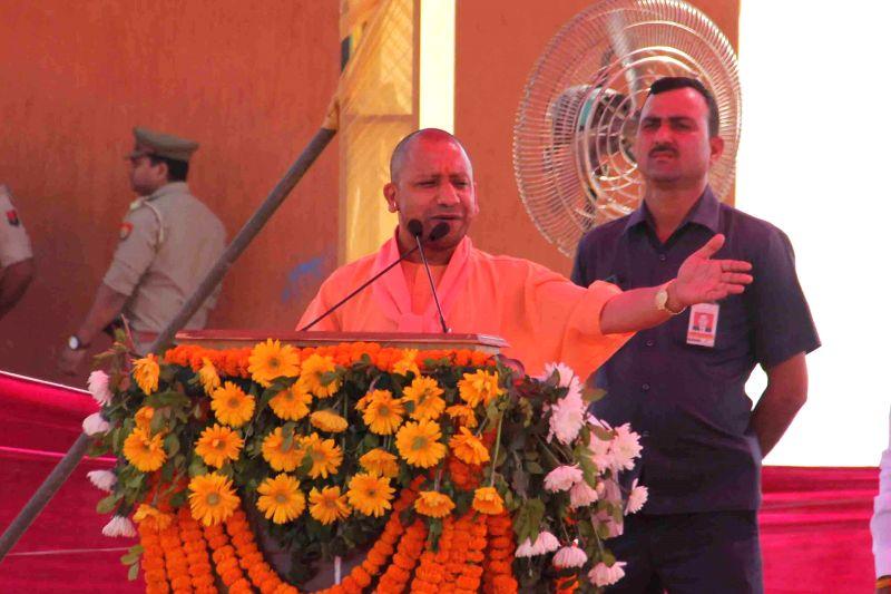 Dadri: Uttar Pradesh Chief Minister Yogi Adityanath addresses a rally in�Dadri, Uttar Pradesh on April 1, 2019.