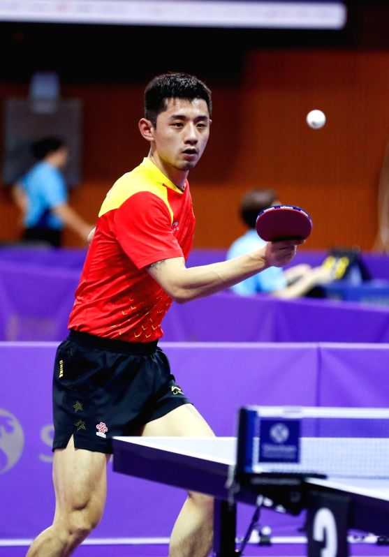 DAEJEON, July 18, 2018 - Zhang Jike of China competes during the men's singles group match against harmeet Desai of India at 2018 ITTF World Tour Korea Open in Daejeon, South Korea, July 18, 2018.