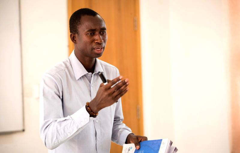 DAKAR, July 21, 2018 - Koumakh Bakhoum teaches Chinese lesson at the Confucius Institute of Cheikh Anta Diop University of Dakar, Senegal, July 18, 2018. The 30-year-old Bakhoum was a graduate ...