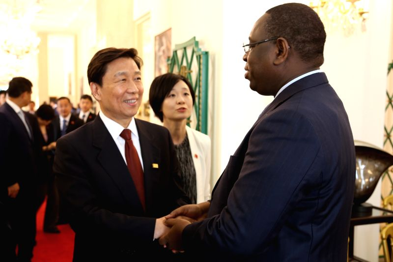 DAKAR, May 8, 2017 - Senegalese President Macky Sall (R) meets with Chinese Vice President Li Yuanchao in Dakar, Senegal, on May 8, 2017.