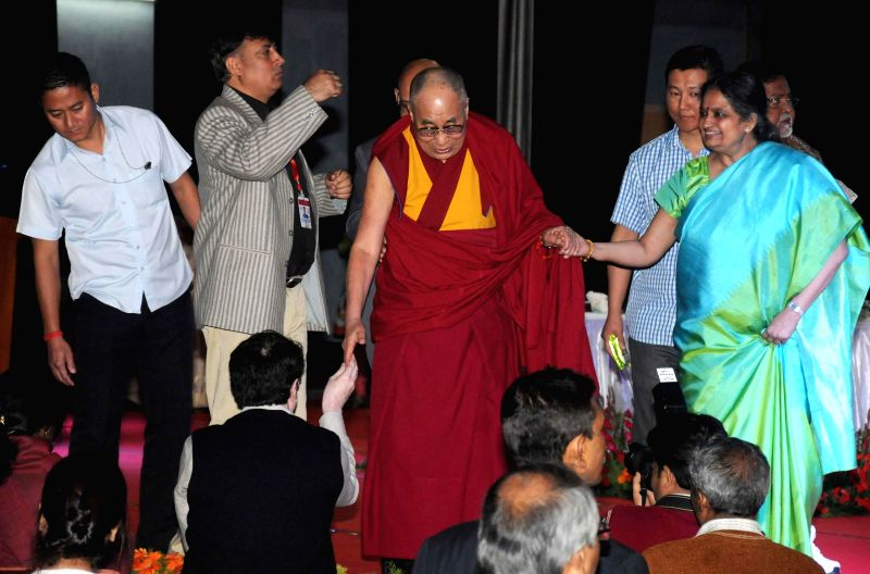Dalai Lama the spiritual head of Tibetan Buddhists during a programme organised at Presidency University in Kolkata, on Jan 13, 2015.