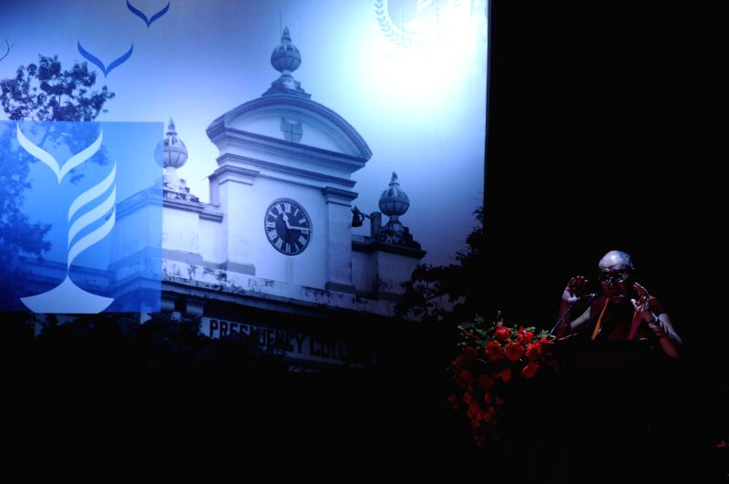 Dalai Lama the spiritual head of Tibetan Buddhists addresses during a programme organised at Presidency University in Kolkata, on Jan 13, 2015.