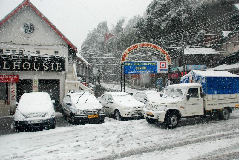 Snowfall in Dalhousie, Himachal Pradesh on Jan 22, 2015.