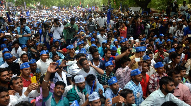 Dalits stage a demonstration to press for their demands at Jantar Mantar in New Delhi on May 21, 2017.