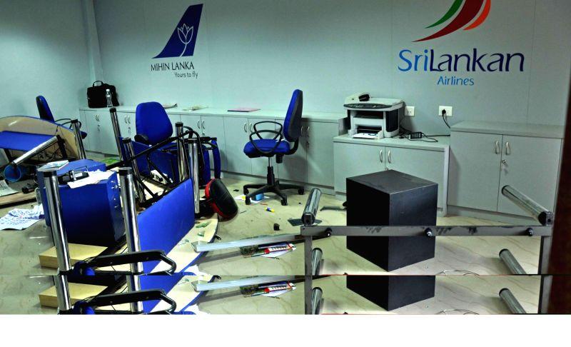 Damaged sri lankan airlines office premises - Srilankan airlines office ...