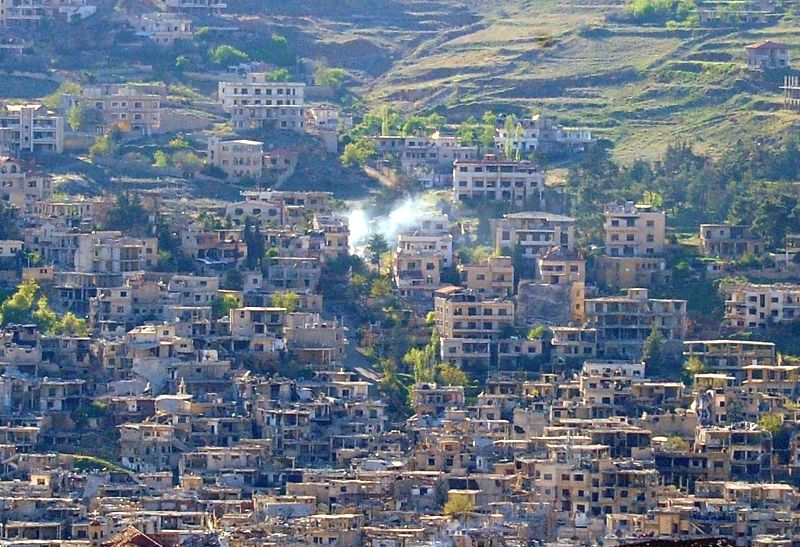 DAMASCUS, April 19, 2017 - Photo taken on April 19, 2017 shows a general view of the town of Zabadani, western countryside of Damascus, capital of Syria, following the evacuation of the last rebel ...