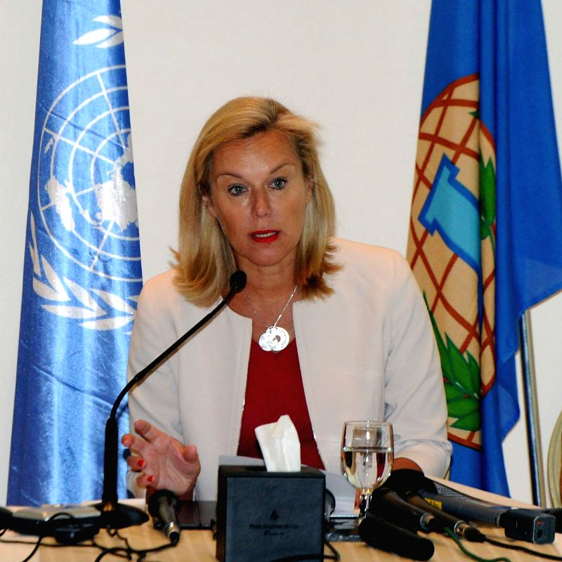Sigrid Kaag, head of the joint Organisation for the Prohibition of Chemical Weapons (OPCW)-United Nations mission for the destruction of Syria's chemical weapons,