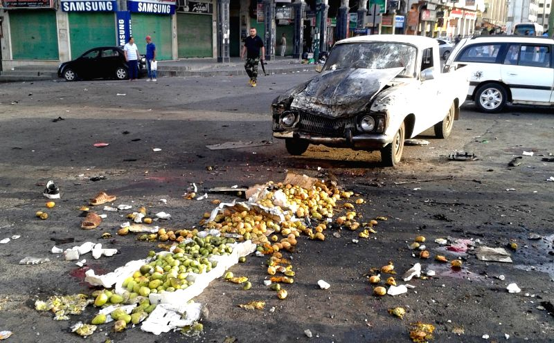 DAMASCUS, July 25, 2018 - Fruits are seen scattered on the ground after a suicide bombing in Sweida, in southern Syria, on July 25, 2018. At least 38 people were killed and 37 others wounded in a ...