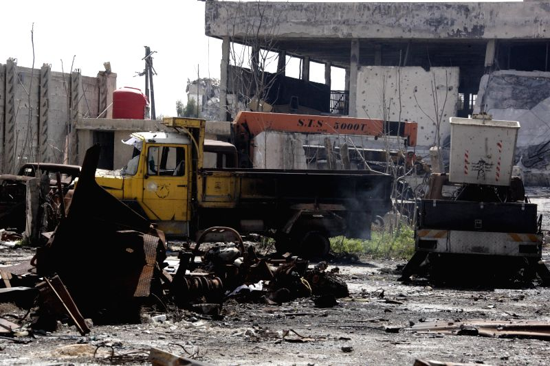 DAMASCUS, March 20, 2017 - Photo taken on March 20, 2017 shows a scene of destruction at the Electricity Company in the east of Damascus, capital of Syria. The Syrian army recaptured all areas fallen ...