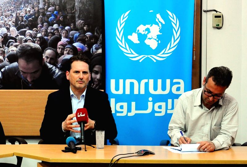 DAMASCUS, May 13, 2016 - Pierre Krahenbuhl (L), Commissioner-General of the UN Relief and Works Agency for Palestine Refugees in the Near East (UNRWA), speaks during a press briefing in Damascus, ...