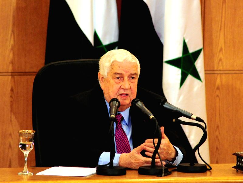 DAMASCUS, May 8, 2017 - Syria's Foreign Minister Walid al-Moallem speaks during a press conference held at the Foreign Ministry in Damascus, capital of Syria, May 8, 2017. Walid al-Moallem said ... - Walid