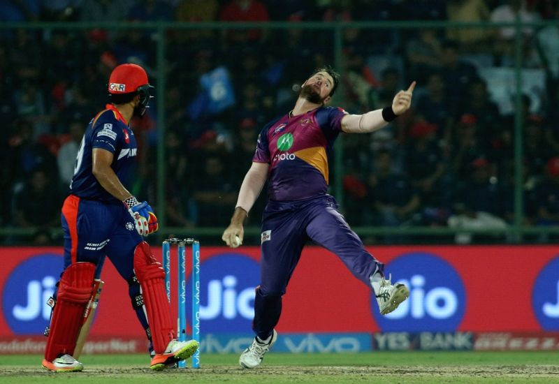 Dan Christian of Rising Pune Supergiant bowls a delivery during match between the Delhi Daredevils and the Rising Pune Supergiant held at the Feroz Shah Kotla Stadium in Delhi on May 12, ...