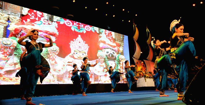 Dancers perform on the Golden Jubilee celebrations of ISCKON in Kolkata, on Aug 13, 2015.