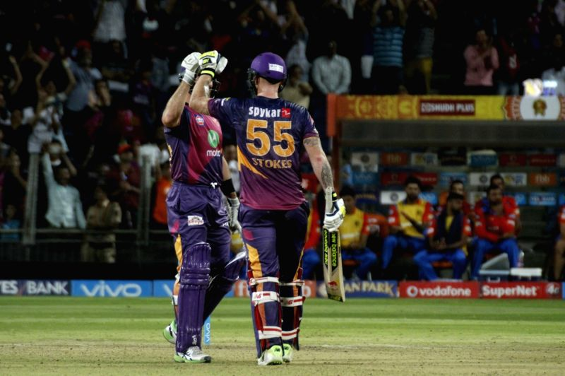 Daniel Christian and Ben Stokes of Rising Pune Supergiant celebrate after winning an IPL 2017 match between Rising Pune Supergiant and Gujarat Lions at Maharashtra Cricket Association Stadium ...