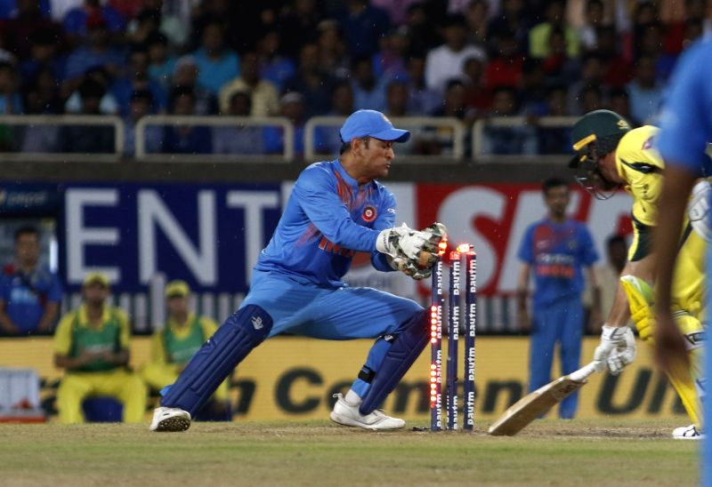 Daniel Christian of Australia gets dismissed during the first T20 match between India and Australia at JSCA International Stadium in Ranchi on Oct 7, 2017.