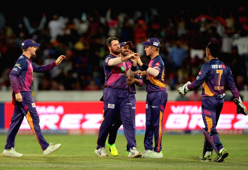 Daniel Christian of Rising Pune Supergiant celebrates fall of Hardik Pandya during the final match of IPL 2017 between Mumbai Indians and Rising Pune Supergiant at Rajiv Gandhi ...