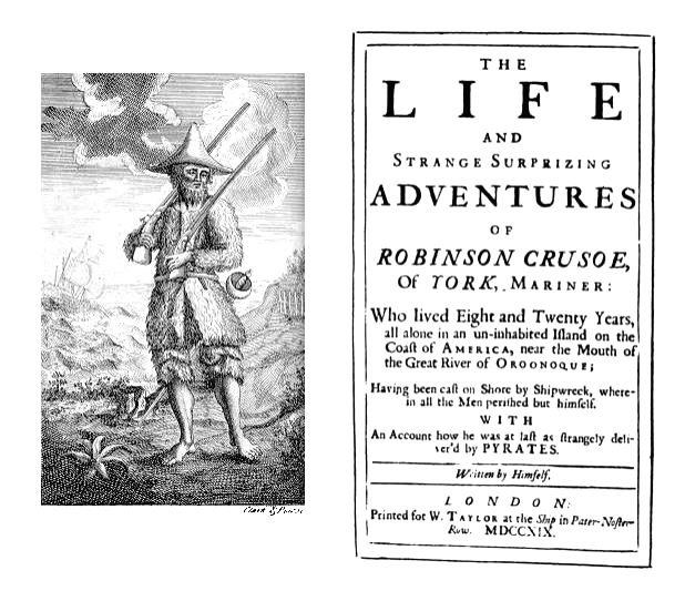 Daniel Defoe's classic Robinson Crusoe with the original edition giving its full title listing out everything about what befell the character