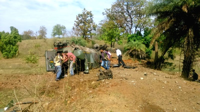 The anti-landmine vehicle that was damaged in a blast in Chhattisgarh's Dantewada district on April 13, 2015. 11 Chhattisgarh Armed Forces (CAF) jawans were in the vehicle. Reportedly four ...