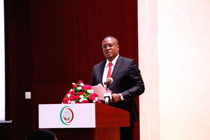 DAR ES SALAAM, Aug. 9, 2016 - Nape Nnauye, Tanzanian Minister for Information, Culture, Arts and Sports, gives a speech at the China-Africa Public Diplomacy Forum in Dar es Salaam, Tanzania, on Aug. ...