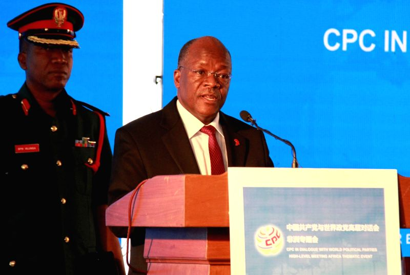 DAR ES SALAAM, July 17, 2018 - Tanzanian President John Magufuli (R) delivers a speech at the opening ceremony of the Communist Party of China (CPC) in Dialogue with World Political Parties ...