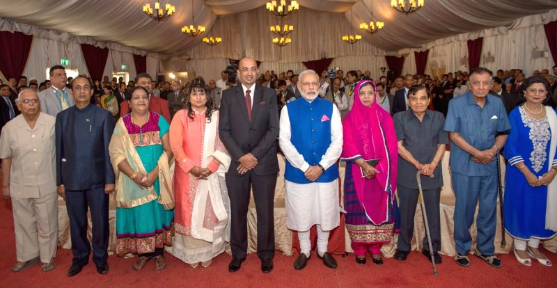 Dar es Salaam: Prime Minister Narendra Modi at Indian Community Reception in Hotel Hyatt Regency, in Dar es Salaam city, Tanzania on July 10, 2016. - Narendra Modi